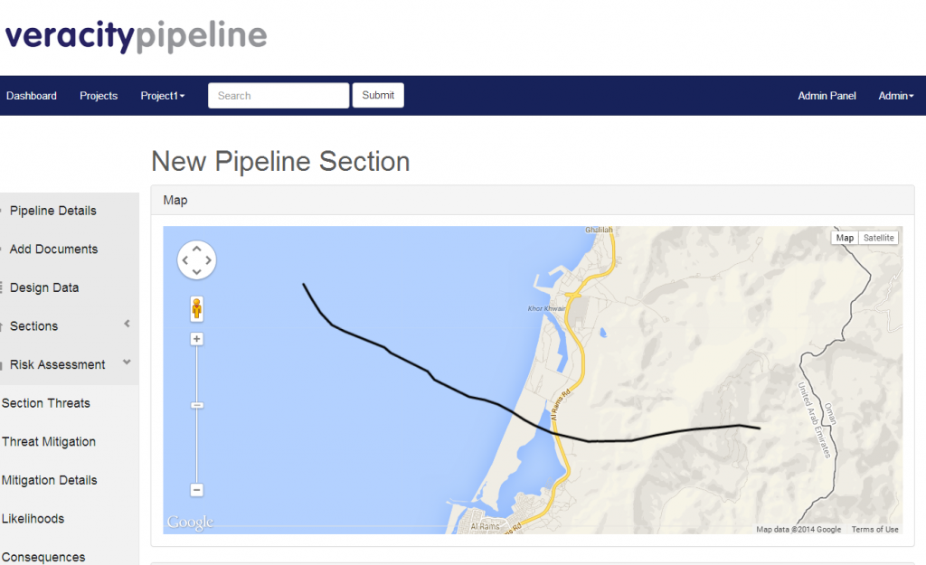 Geographical visualization of pipeline layout and risks with multiple data entry and mapping options
