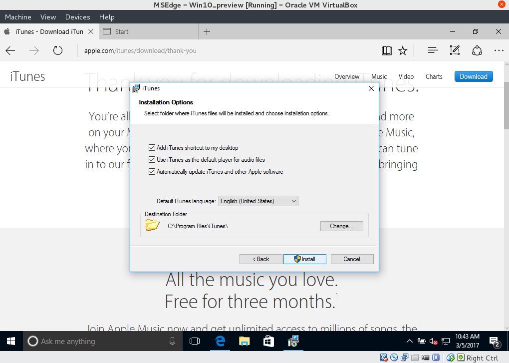 installing iTunes on VirtualBox